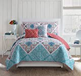 King Size Quilt Set in Multicolor Charming Colorful 5 Pc Set w/ Decorative Pillows