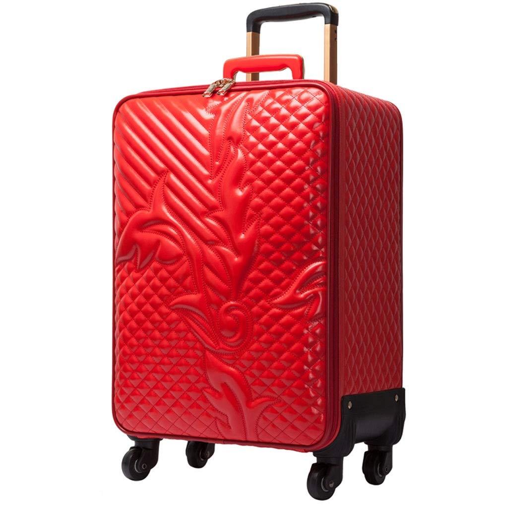 トロリーケース- ユニバーサルホイールウェディングボックストロリーケース16インチ、旅行スーツケース搭乗パスワードロックボックス20/22インチ (Color : Red, Size : 20in) B07VC1GFF4 Red 20in