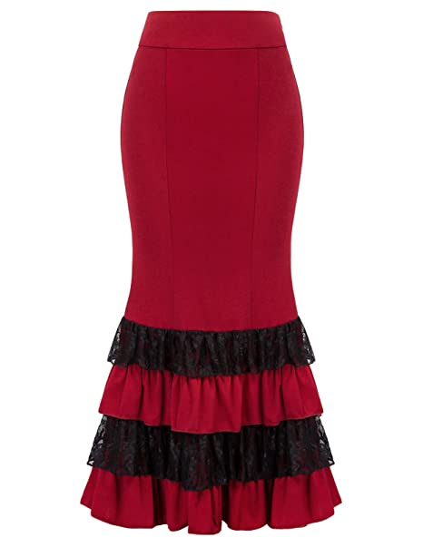 New Girls Black red purple green Gothic Fishtail Long Lace Skirt Alternative