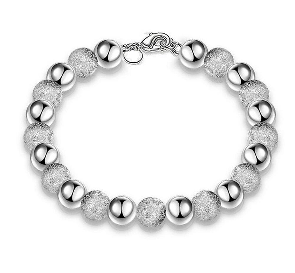 Hosaire Bracelet Femmes El/égant arrondis sable de perles form Bracelet Argent Cha/îne Bijoux poignet d/écoration romantique Cadeau de lamour