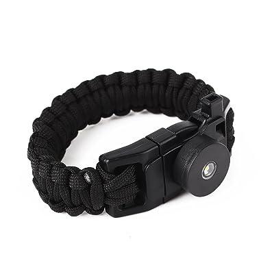 Beautyrain Bracelet éclairage LED corde paracord Survie Flint Allume feu pour Camping Randonnée Voyager Sports de plein air Pièces Outils Multicolor