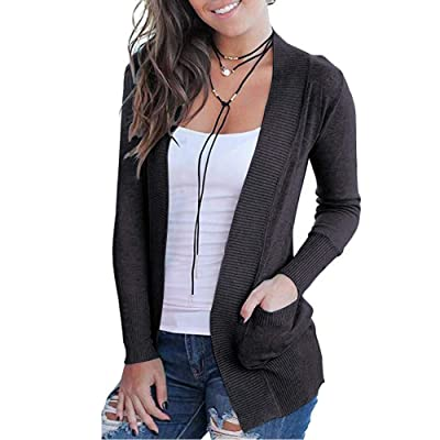 VOIANLIMO Women's Open Front Casual Long Sleeve Knit Classic Sweaters Cardigan with Pockets at Women's Clothing store