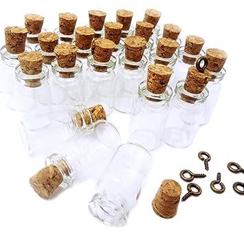 lefv ™ Mini Botellas de cristal (Mensaje Tesoro colgante Charm Kit hace Botella colgantes