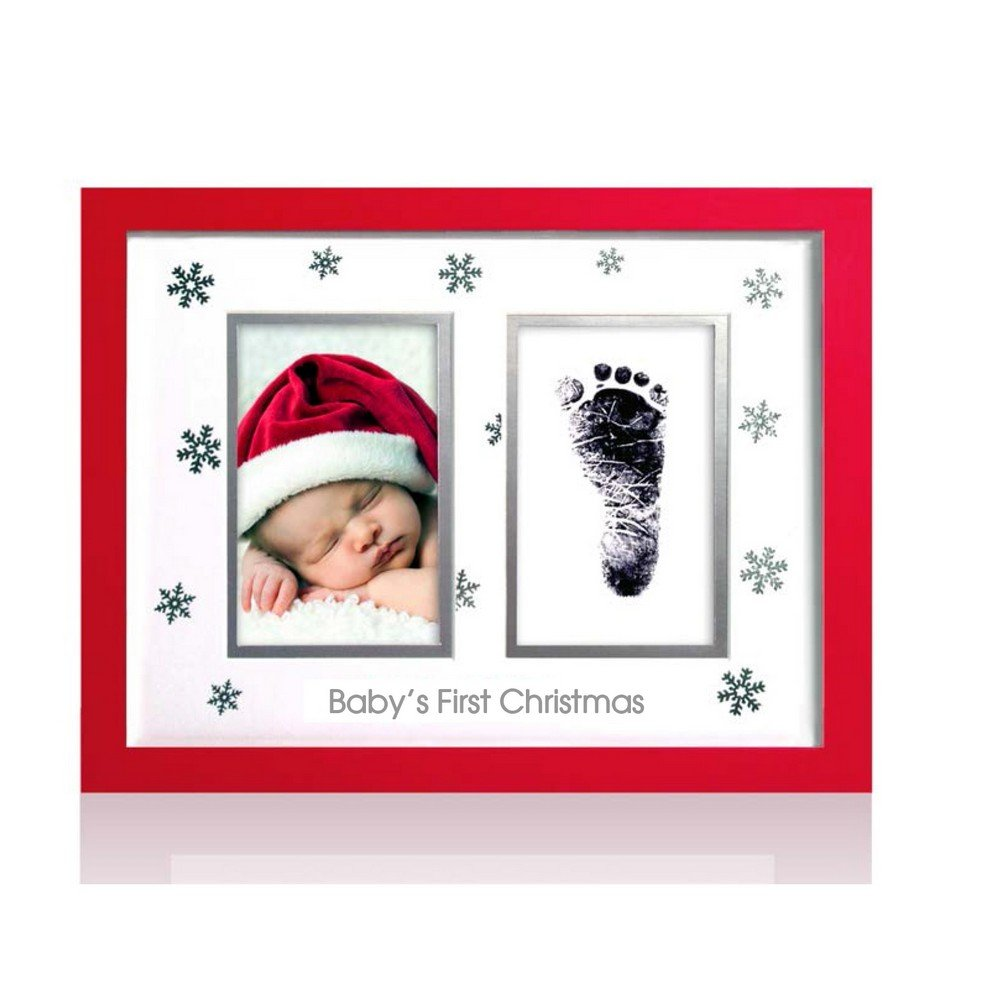 Pearhead Babyprints Handprint or Footprint Christmas Frame with Clean Touch Ink Pad, Red by Pearhead   B0169RG7AO