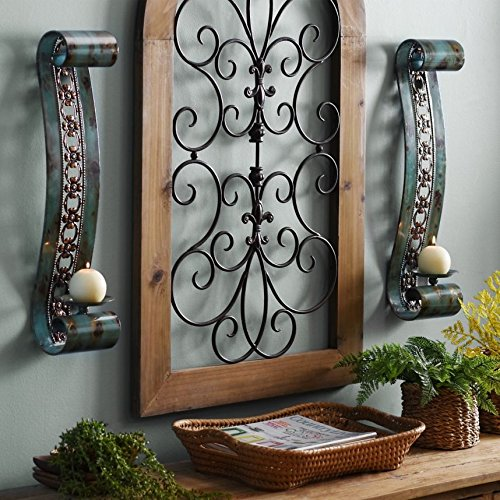 Enchanting Large Emery Turquoise Scroll Metal Sconce Set