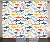 Sea Animal Decor Curtains by Ambesonne, Mix Pattern of Sharks in Various Tones Frighten Panic Phobia Pacific Home Decor, Living Room Bedroom Window Drapes 2 Panel Set, 108W X 84L Inches, Multi