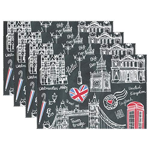 Jereee England London Symbols Black Set of 6 Placemats Heat-Resistant Table Mat Washable Stain Resistant Anti-Skid Polyester Place Mats for Kitchen Dining Decoration ()