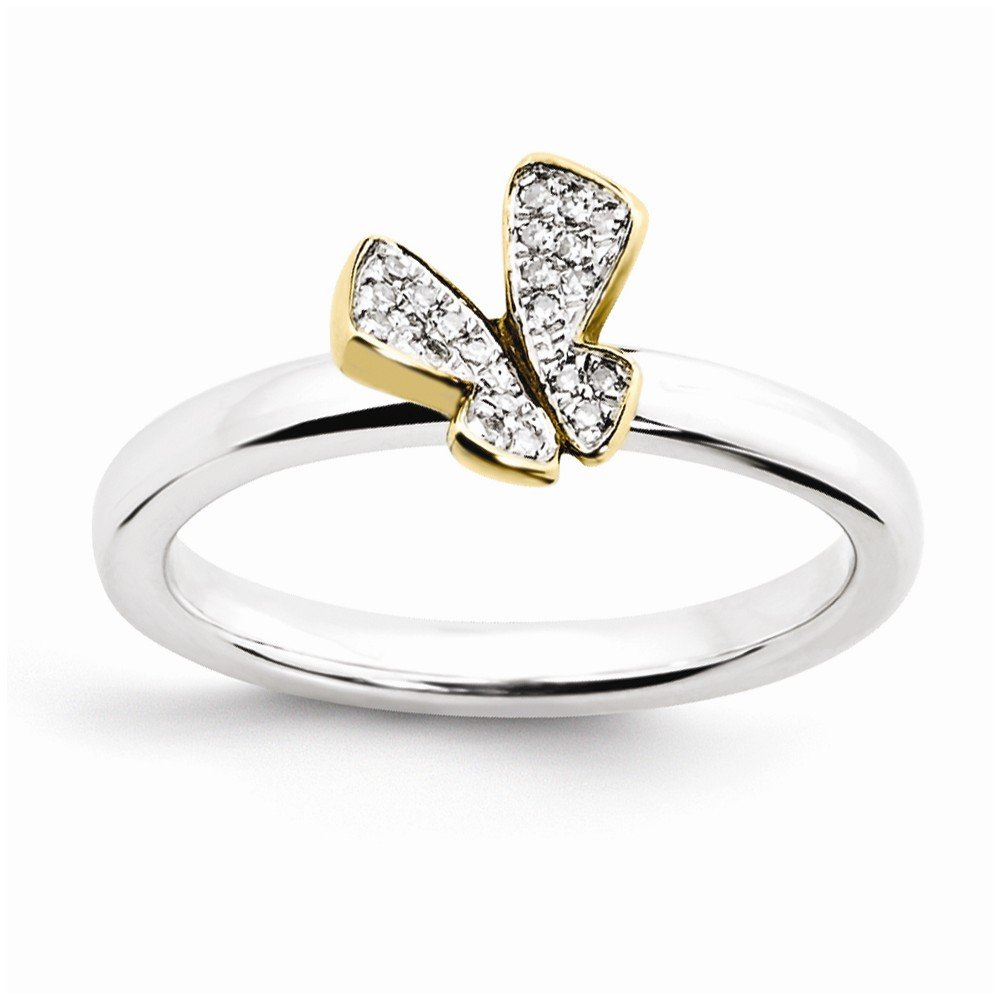 Top 10 Jewelry Gift Sterling Silver Stackable Expressions Gold-plate Butterfly Diamond Ring