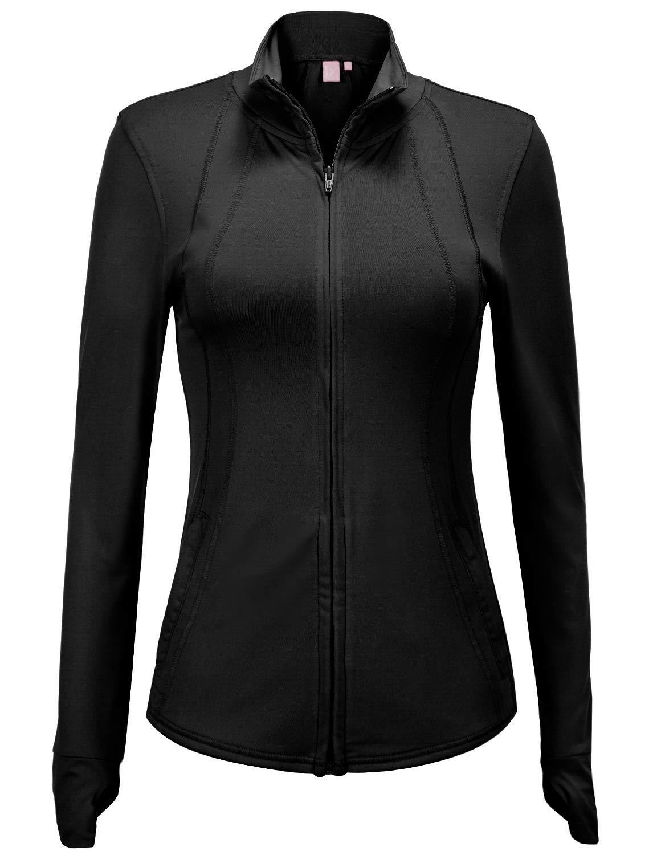 Regna X Women's Full Zip Lightweight Active Performance Track Jacket Black S