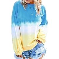 FSSE Women Gradient Color Loose Long Sleeve Plus Size T-Shirt Sweatshirt Pullover
