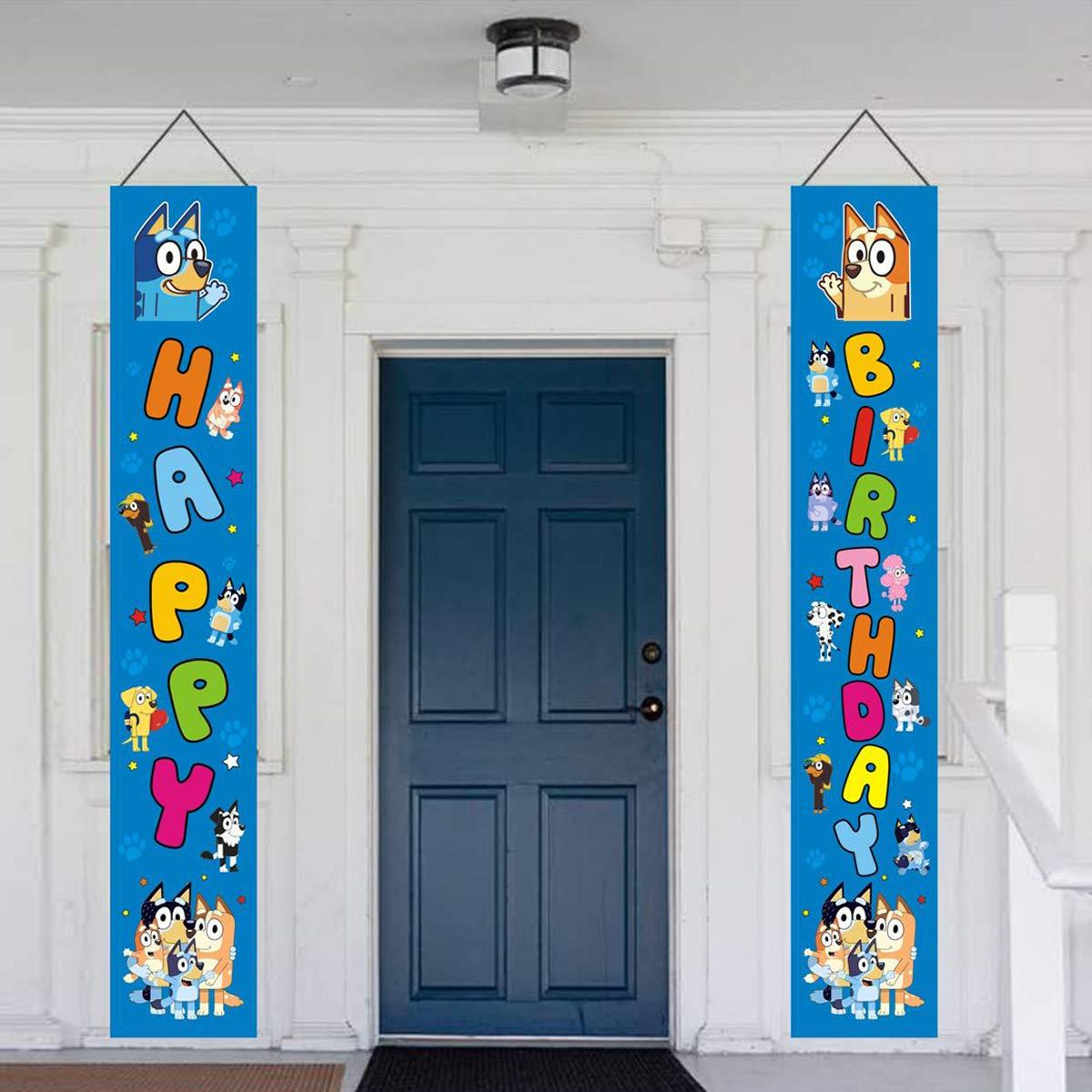 Bluey birthday banner,Bluey theme party decoration Bluey couplet porch sign door window