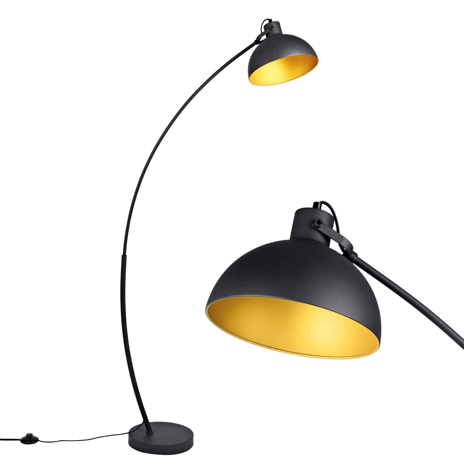 Amazon com arc floor lamp for living room archiology steel lamp with black and gold shade 61 home improvement