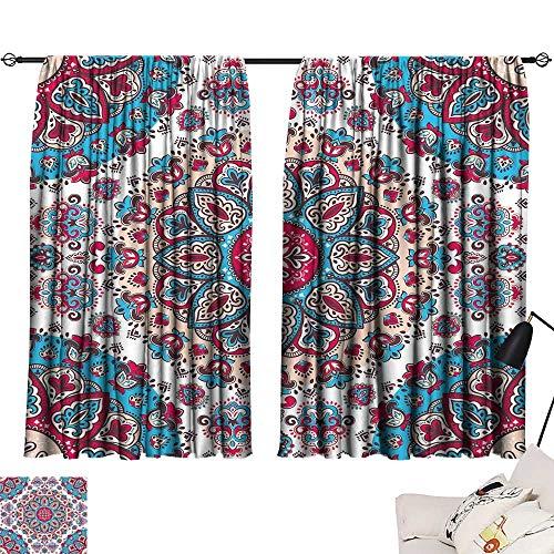 Ediyuneth Curtain Set Ethnic,Henna Style Floral Circles Paisley Retro Kaleidoscope Image,Turquoise Hot Pink and Light Pink 54