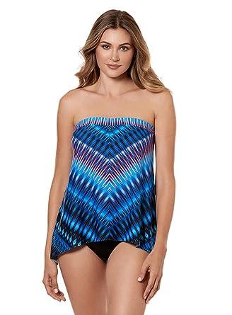 b4523750b05 Miraclesuit Swimwear Marrakech Bandini Bandeau Neckline Underwire Bra Tankini  Top with Detachable Straps, Blue,