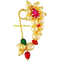 Madam Collection Traditional Maharashrian (Non Pierced) Nath Nose Ring Pink Colour Stone Along With Pearl Beads For Women - Big Size