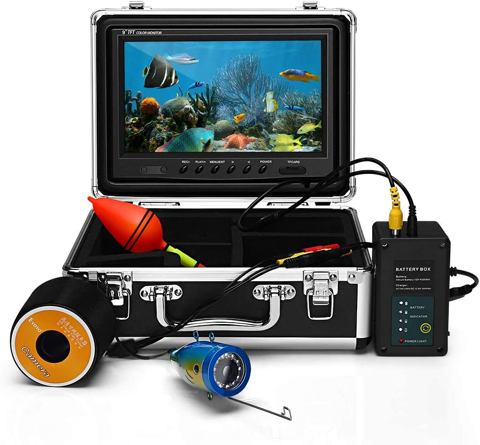Eyoyo 9 Inch Underwater Fishing Camera Video Fish Finder HD 1000 TVL Waterproof Camera w Adjustable Infrared White Light for Ice Lake Sea Fishing 30m 98ft Cable Video DVR Recording