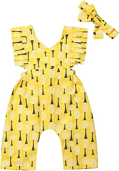 Infant Baby Girls Floral Sunflower Jumpsuit Romper Headband 2PCS Outfit Clothes