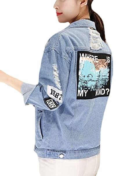 3ab85834b374 AngelSpace Womens Plus Size Ripped-Holes Spring Summer Jean Jacket Coat at Amazon  Women s Coats Shop