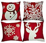 Decorative Pillow Cover - Red Embroidery Christmas Pillow Covers Set of 4, BLUETTEK Snowman,Christmas Deer, Snowflake, Merry Christmas Decorative Throw Pillow Case Cushion Covers 18 X 18 Inch for Bed Sofa