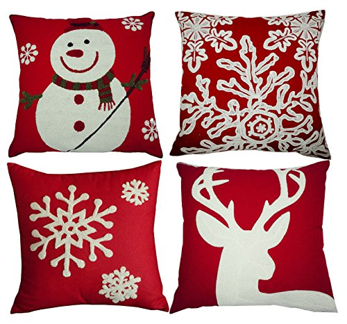 BLUETTEK Red Embroidery Christmas Pillow Covers Set of 4, Snowman,Christmas Deer, Snowflake, Merry Christmas Decorative Throw Pillow Case Cushion Covers 18 X 18 Inch for Bed Sofa (Pillow Merry Christmas)