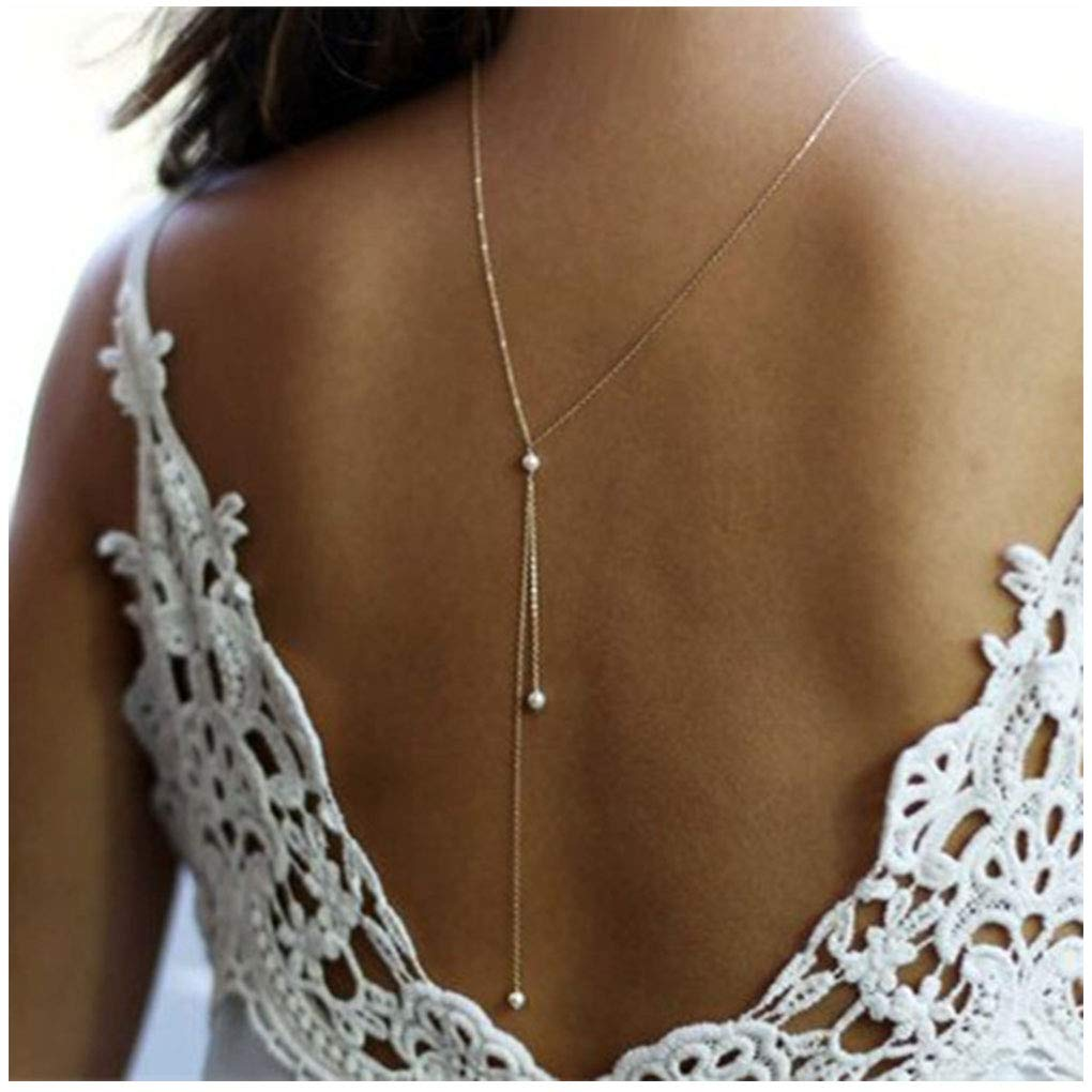 Yfe Back Necklace Pearl Backdrop Necklace Body Chain Jewelry for Women and Girls Bridal Jewelry(Gold)