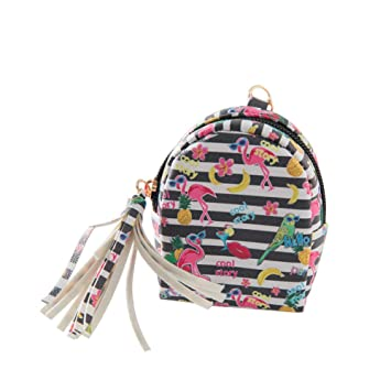 Bolsillo de Monedas Cuero Billeteras de Mujer Pequeña Maquillaje Caso Bolsa Bolso de Embrague Compras para Dama Niña Carteras con Flamenco(Rayas): ...