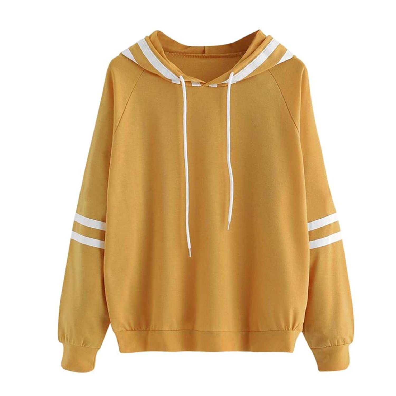 Minisoya Womens Long Sleeve Casual Hoodie Sweatshirt Jumper Hooded Blouse Pullover Tops