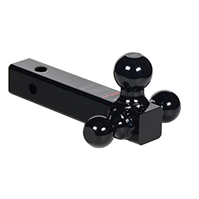 "HiTow Multiple-Ball 3IN1 Tri-Ball Mount (1-7/8"", 2""& 2-5/16""), 2"" Receiver, Hollow Shank, Black Powder: Automotive"