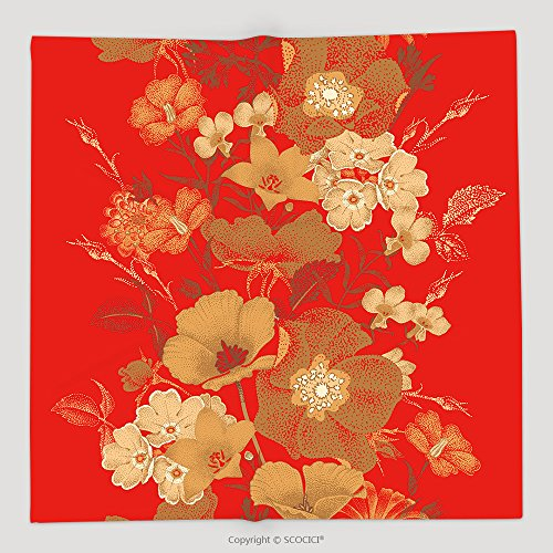Custom Seamless Vector Pattern Of Garden Flowers In Style Of Chinese Lacquer Miniature Gold Plants On Red 378085975 Soft Fleece Throw Blanket (Blanket Chest Chinese)