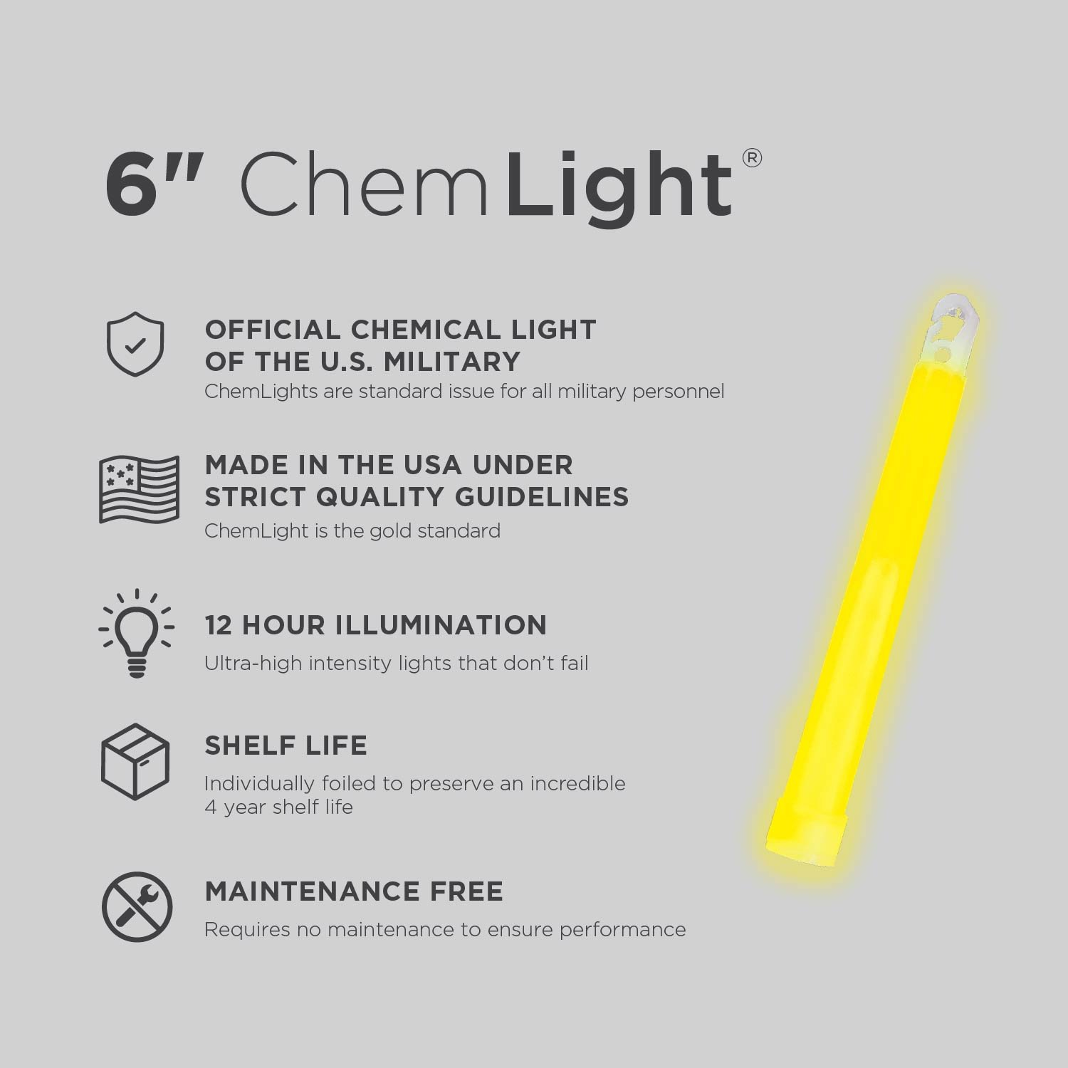 Ideal as Emergency or Safety Lights Cyalume ChemLight Military Grade Chemical Light Sticks Standard Issue for U.S Hiking or Camping and Much More Military Personnel 12 Hour Duration Light Sticks Provide Intense Light for Tactical Applications