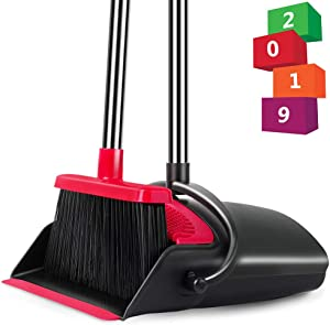 Been5le Extendable Broom and Dustpan Set, Self-Cleaning with Dust Pan Teeth, Long Handle Broom and Dustpan Combo, Upright Broom Set for Home Kitchen Room Office Lobby Floor Use (Black & Red)