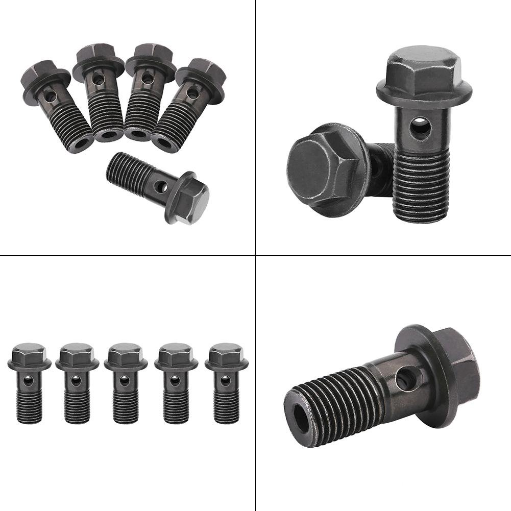 M10/×1.25mm GOTOTOP 5pcs Motorcycle Banjo Bolts and Washers for Brake Caliper Master Cylinder,Stainless Steel Banjo Bolts Brake Fitting Adapter Universal with M10 Copper Washers
