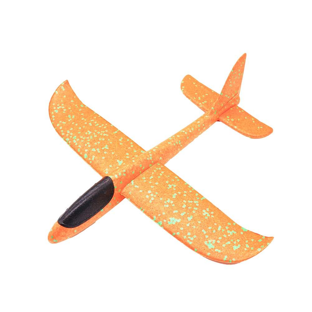 minishop659 38cm Outdoor Hand Throw Aircraft Airplane Launch Glider Plane Model Kids Toy Orange