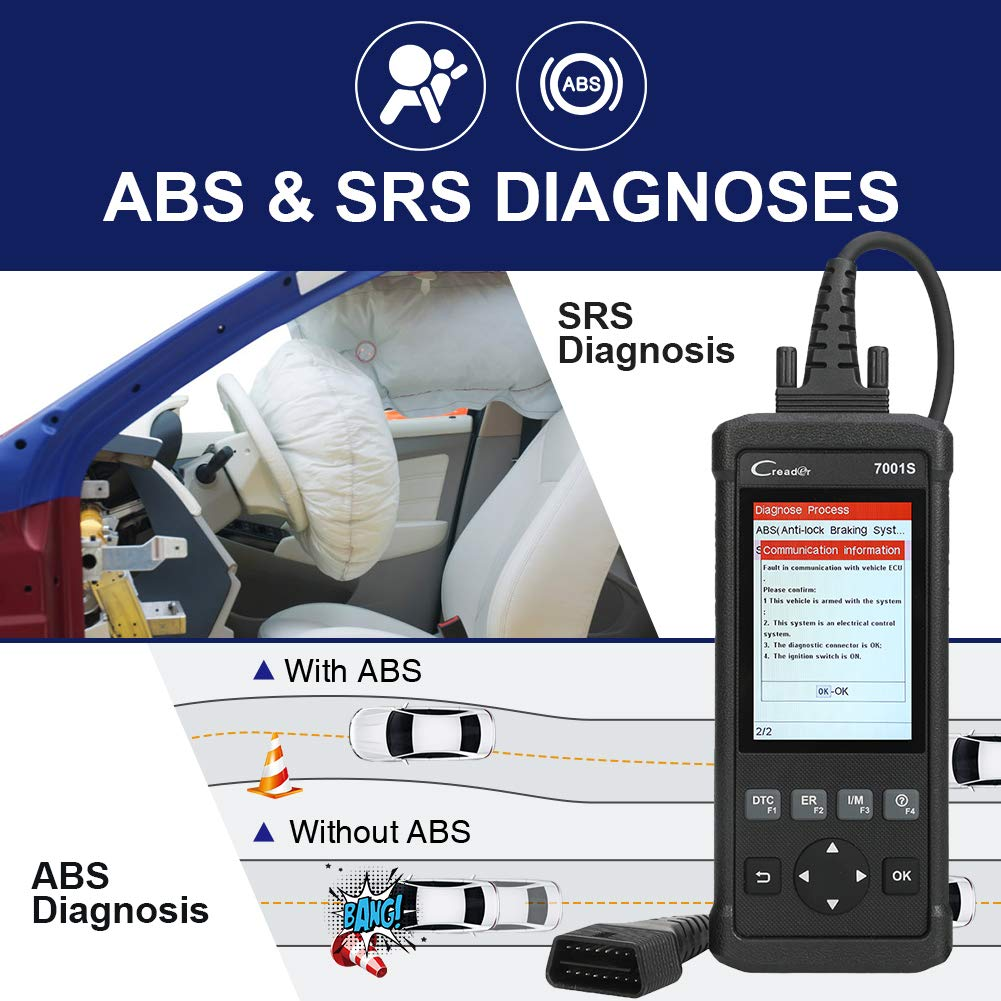 Launch OBD2 Scanner,Code Reader 7001S OBD II Scan Tool ABS SRS Diagnostic Scanner Tools with Oil Rest EPB Service,ABS Reset Service Functions. by LAUNCH (Image #3)
