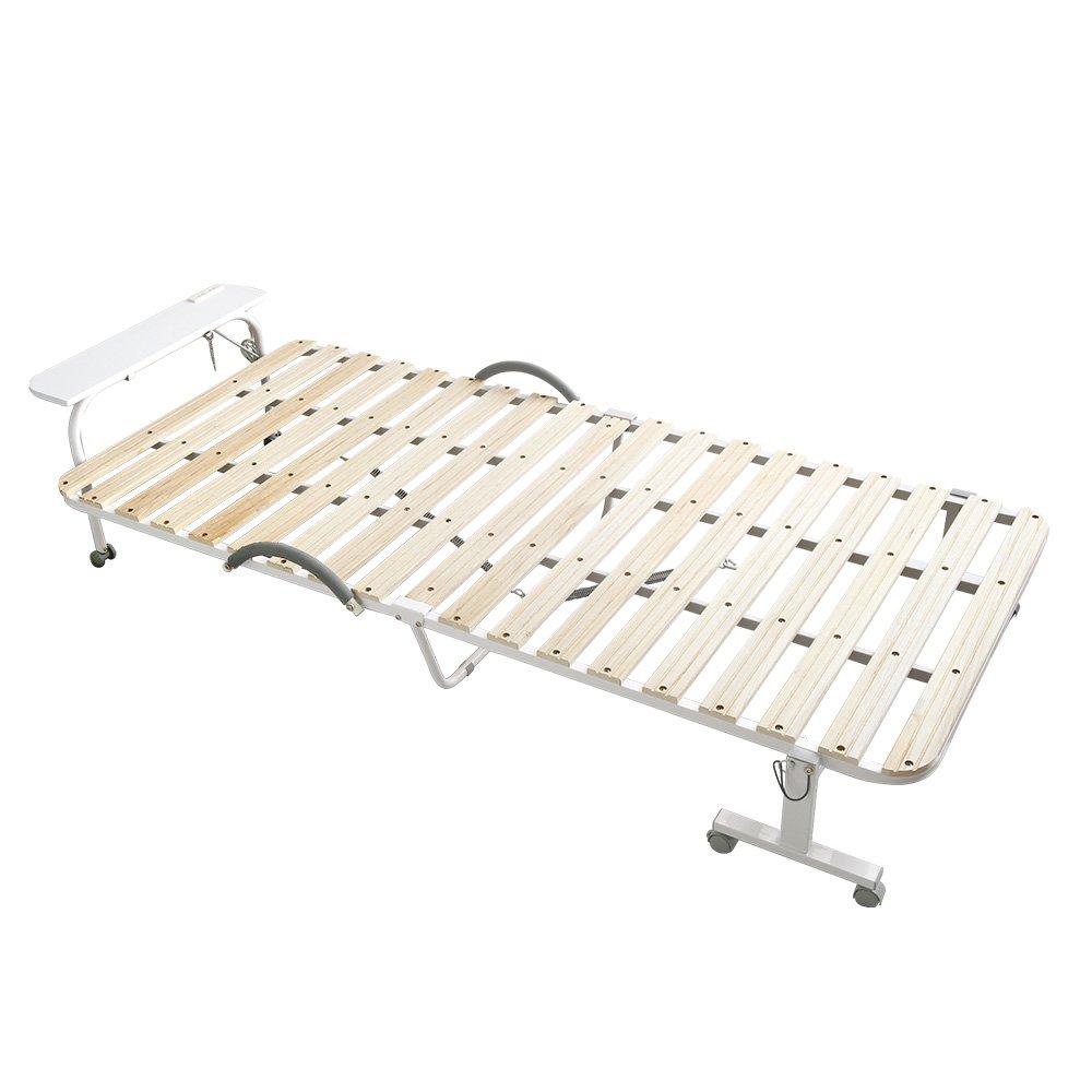 折りたたみ移動式 すのこベッド ナチュラル(宮付きコンセント付きキャスター付き移動式折りたたみ式) B07D49RZJ3