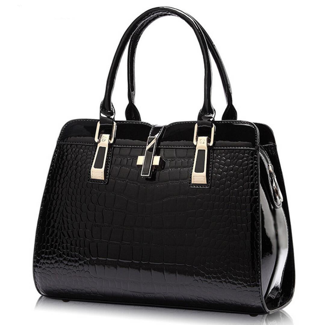 Women's Tote Top Handle Handbags Crocodile Pattern Leather Cross-body Purse Shoulder Bags (Black)