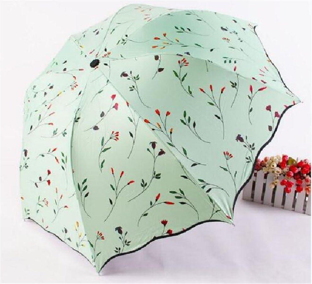 Biscount Green Flower Sunny and Rainy Umbrella Oil Painting 3 Folding Ultra Umbrella Rain Women Travel Parasol Sun Protection Anti-UV Umbrella