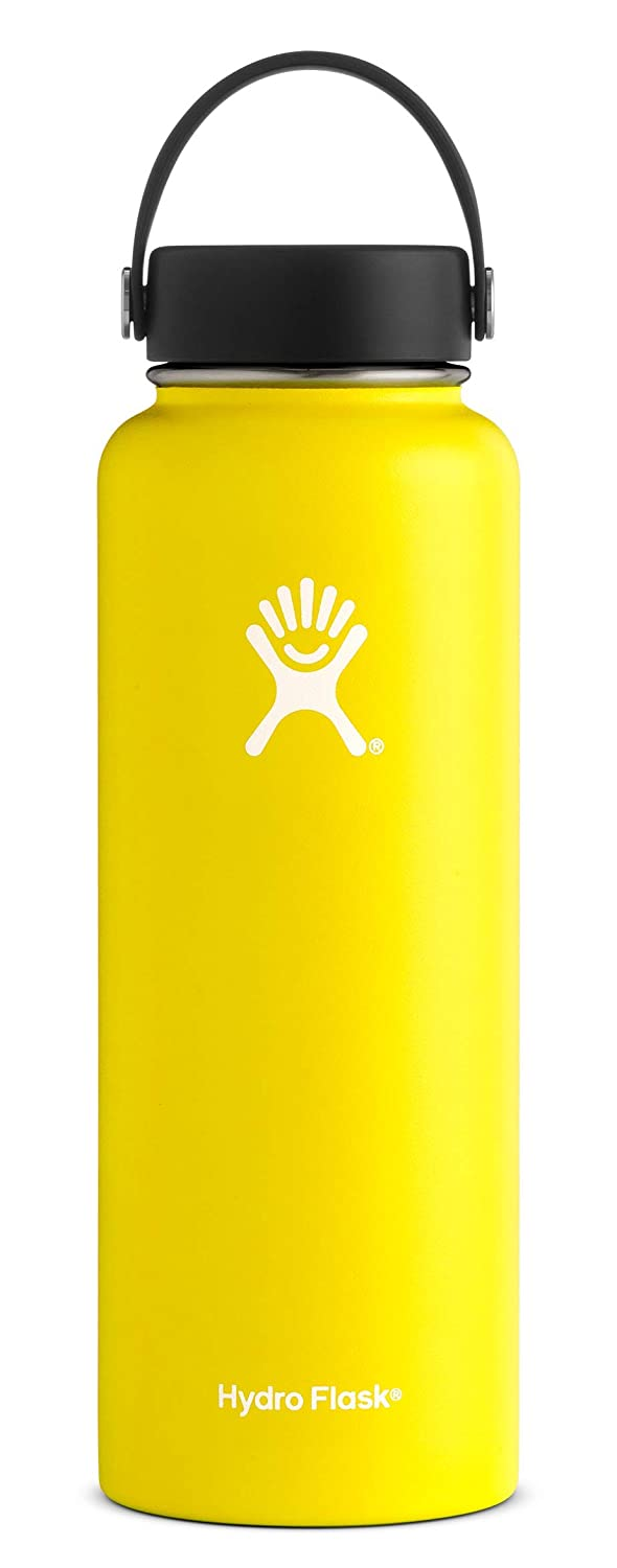 Hydro Flask 40 oz Double Wall Vacuum Insulated Stainless Steel Leak Proof Sports Water Bottle, Wide Mouth with BPA Free Flex Cap, Lemon