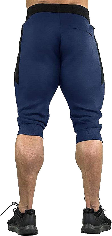 KEFITEVD Mens 3//4 Joggers Pants Workout Gym Shorts Running Capris with Zipper Pockets