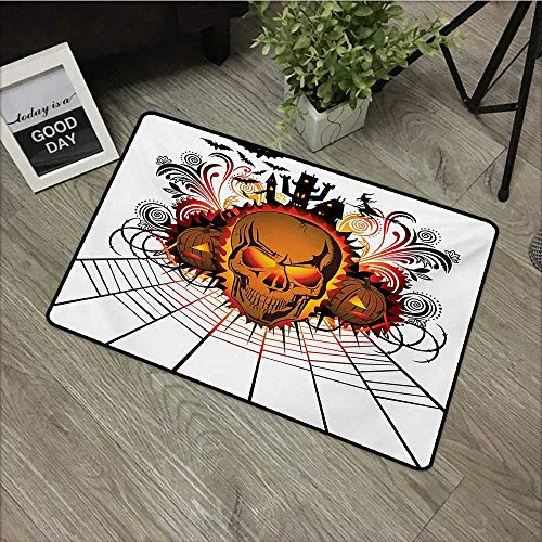 Interior mat W16 x L24 INCH Halloween,Angry Skull Face on Bonfire Spirits of Other World Concept Bats Spider Web Design,Multicolor Non-Slip, with Non-Slip Backing,Non-Slip Door Mat Carpet]()