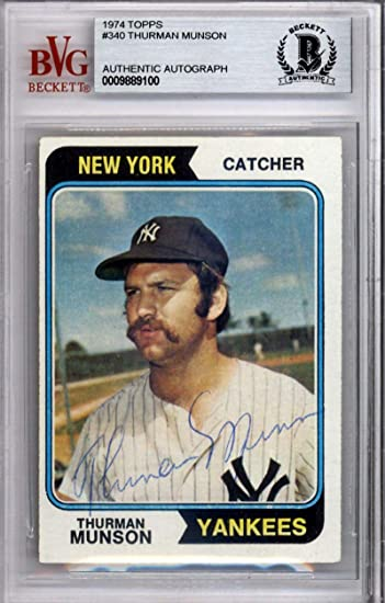 1b7827730a3 Thurman Munson Autographed New York Yankees 1974 Topps 340 Card Beckett  80282 - Beckett Authentication