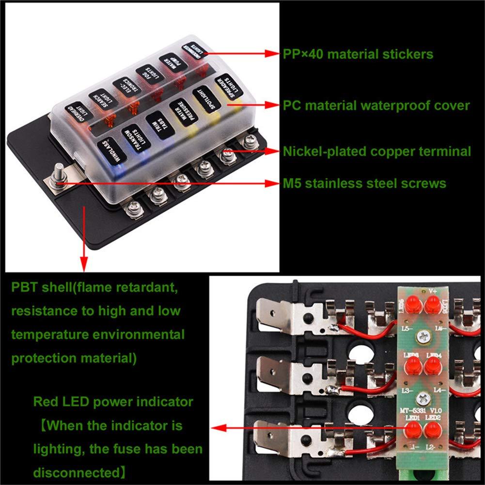 Kraumi 12-Fach Sicherungshalter 9-32V ATO Sicherungskasten mit LED-Anzeige Schutzabdeckung und Sicherung Zubeh/ör f/ür KFZ Auto//Marine Boot//Trike//Wohnwagen