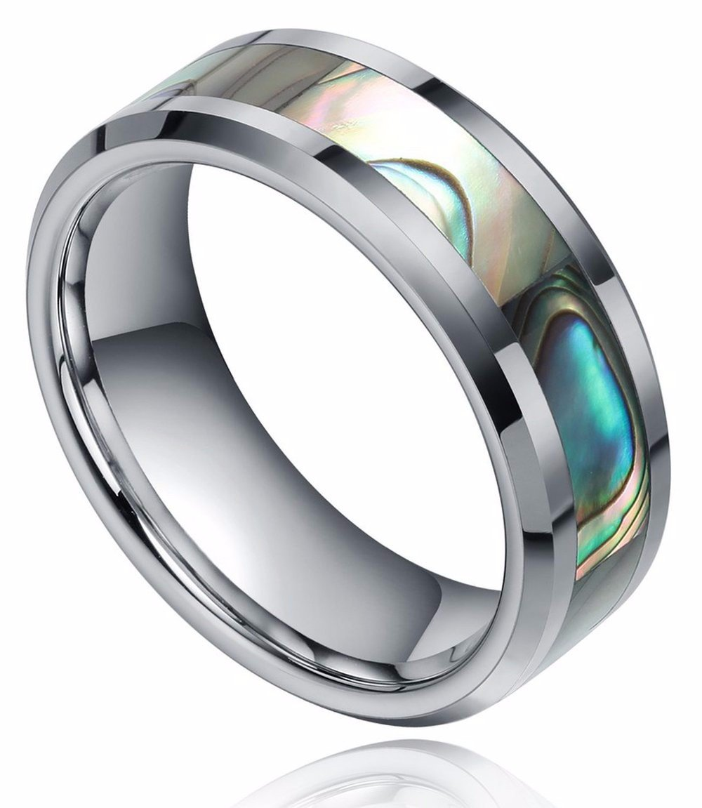 8mm Abalone Shell Tungsten Rings Comfort Fit Mother of Peal Men Women Wedding Band Size 9.5 by Shuremaster (Image #1)