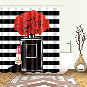 Bartori Shower Curtain with Hooks Inside A Large Black Perfume Bottle and Lipstick Sephora Style Background Waterproof Polyester Fabric Bath Curtain 71''X71''