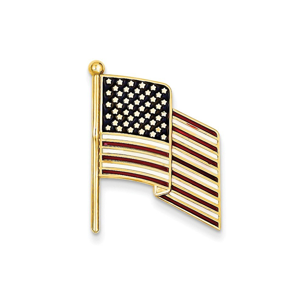 14k Enameled Flag Pin Charm by CoutureJewelers