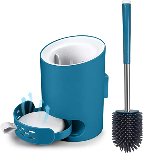 MANGOTIME Toilet Brush and Holder Set, Toilet Bowl Cleaner Brush for Bathroom RV Toilet Under Rim Compact Wall Mounted Toilet Brush with Holder Silicone Brush Absorbent Diatomite Mat Blue