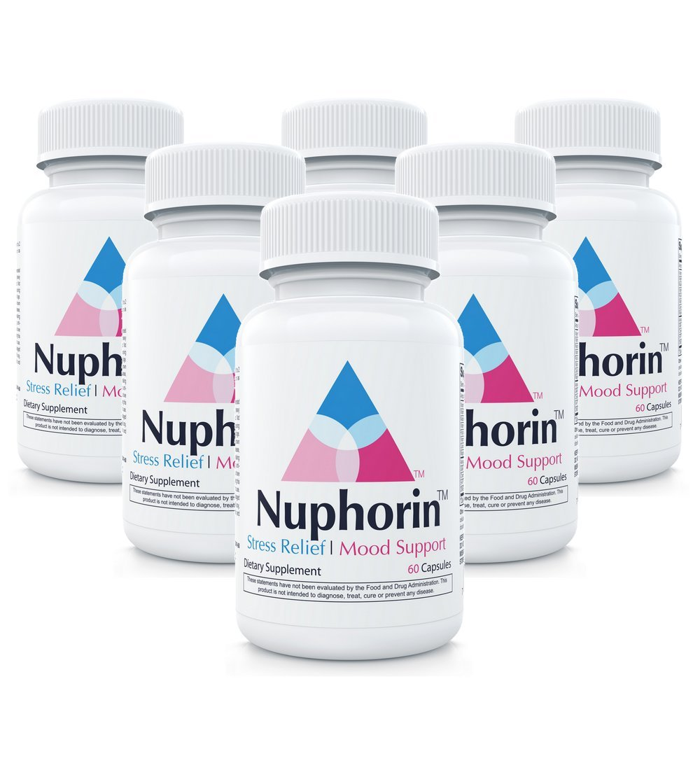 Nuphorin Anxiety Relief :: #1 Fast-Acting Anxiety Supplement for Anxiety, Stress Relief and Panic (60 Capsules) :: 12 Powerful, Professional-Grade Ingredients :: (6-Bottles)