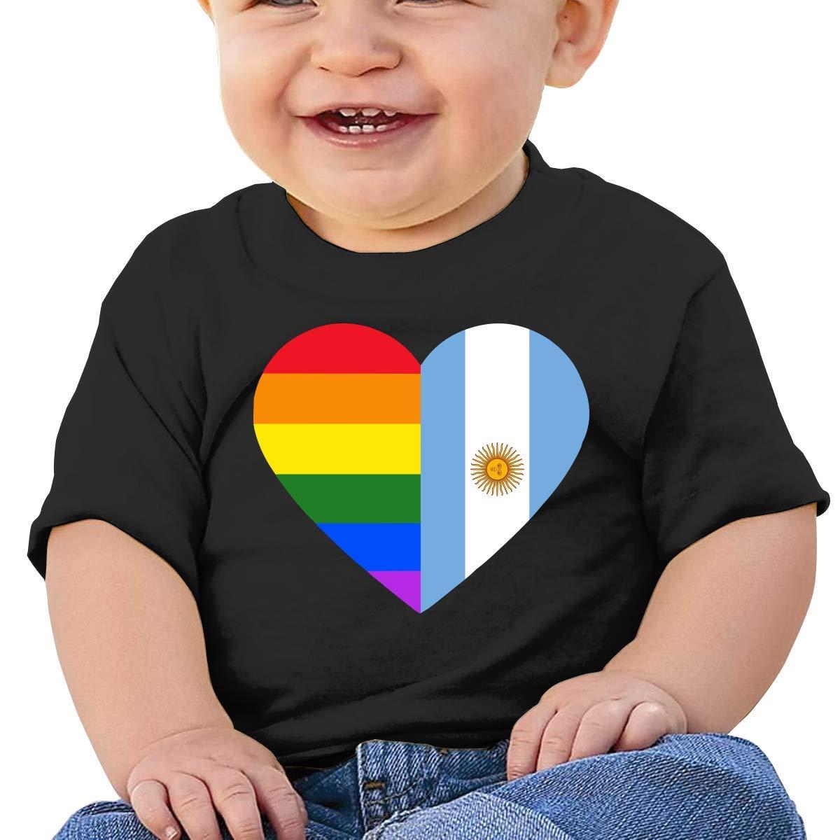 LGBT Rainbow Argentina Flag Heart Baby Boy Girl Newborn Short Sleeve T-Shirt 6-24 Month Soft Tops