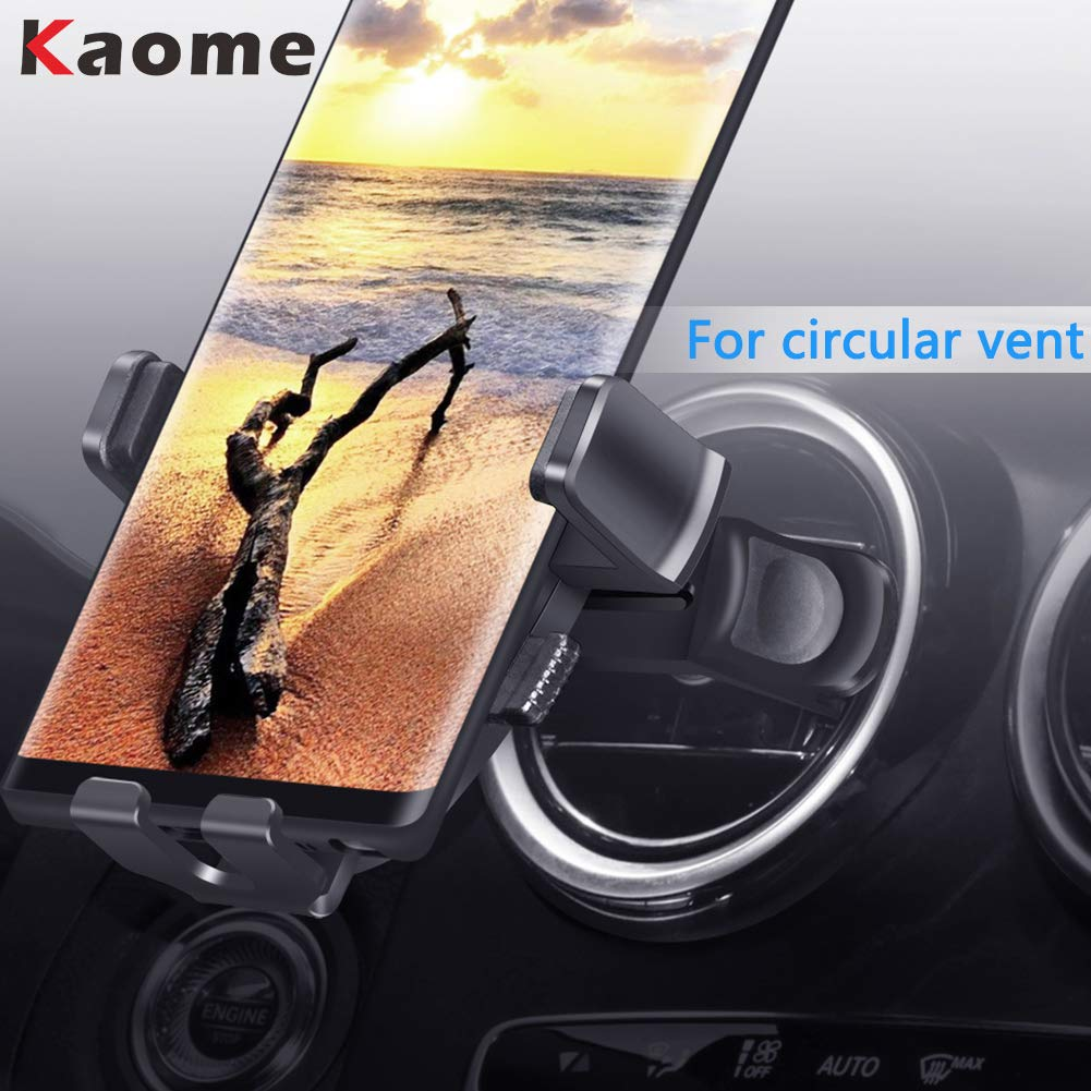 Kaome Round Air Vent Car Phone Holder, Universal Adjustable Car Mount,  One-Handed Operation, Scratch Prevention, for iPhone Xs max/Xr/X/8/7 with  case