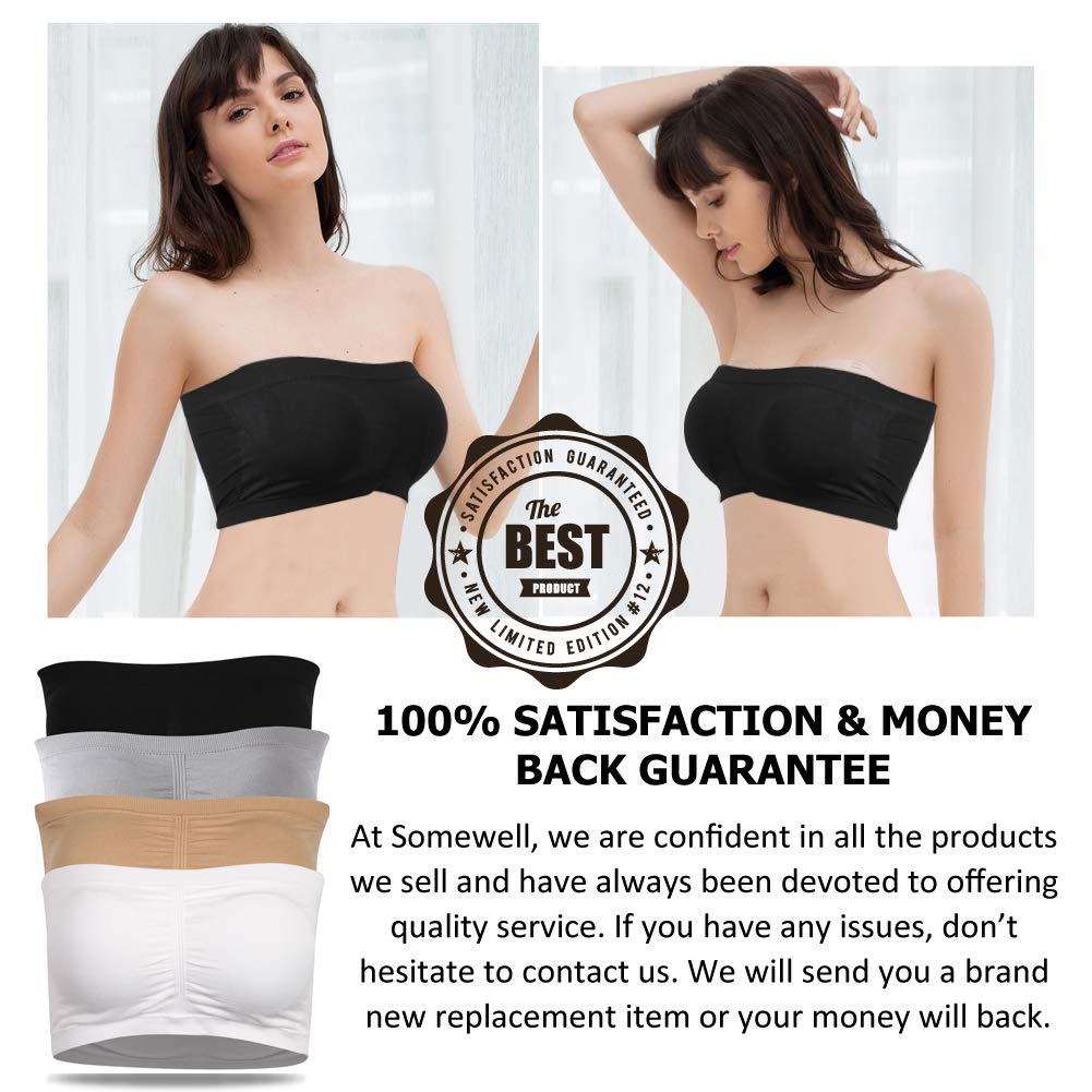 Womens Underwire Push Up Strapless Seamless Stretch Tube Top Bra Lightly Padded for Wedding Large Bust,Beige+White,3X-Large Somewell Womens Bandeau Bra